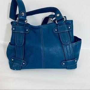 Tiganello leather bag shoulder bag blue color